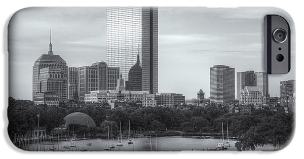 Charles River iPhone Cases - Boston Skyline IV iPhone Case by Clarence Holmes