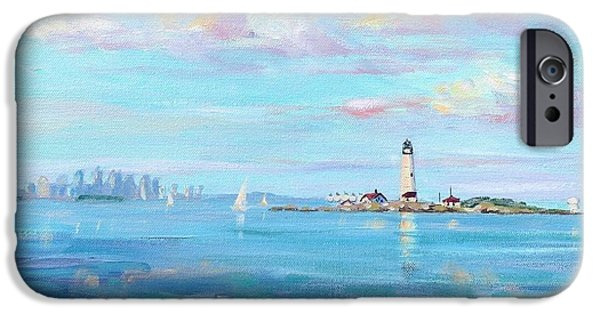 New England Lighthouse iPhone Cases - Boston Skyline iPhone Case by Laura Lee Zanghetti