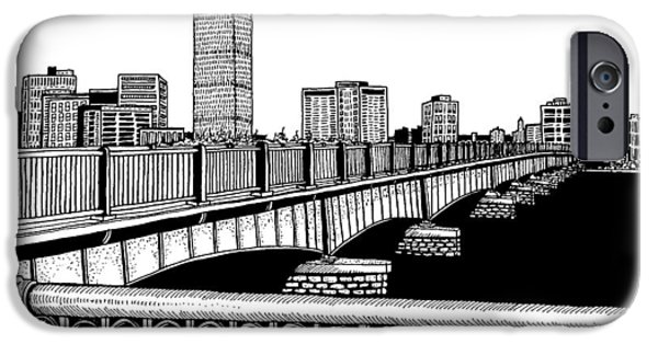 City. Boston Drawings iPhone Cases - Boston Skyline Mass Ave iPhone Case by Conor Plunkett