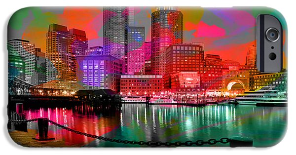 Boston iPhone Cases - Boston Skyline Painting iPhone Case by Marvin Blaine