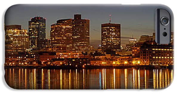 Custom House Tower iPhone Cases - Boston Skyline Panorama iPhone Case by Juergen Roth