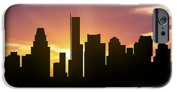 Boston Cityscape iPhone Cases - Boston Skyline Panorama Sunset iPhone Case by Aged Pixel