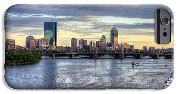 Charles River iPhone Cases - Boston Skyline Panoramic 3 iPhone Case by Joann Vitali