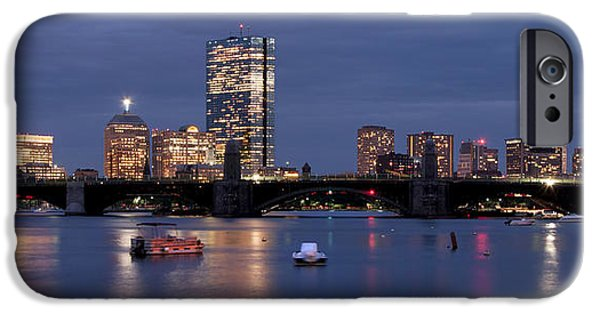 Charles River iPhone Cases - Boston Skyline Panoramic - Blue Nights iPhone Case by Joann Vitali