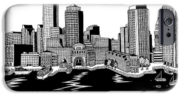 City. Boston Drawings iPhone Cases - Boston Skyline Rowes Wharf iPhone Case by Conor Plunkett