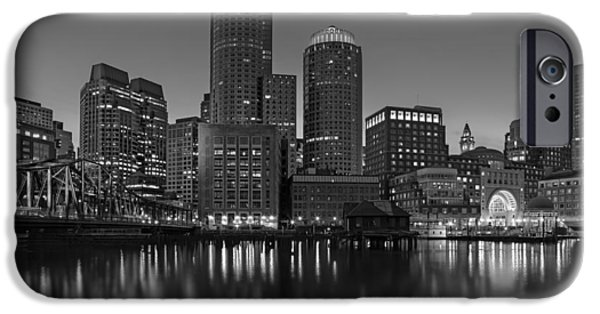 Bean Town iPhone Cases - Boston Skyline Seaport District BW iPhone Case by Susan Candelario