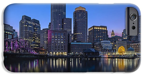 Bean Town iPhone Cases - Boston Skyline Seaport District iPhone Case by Susan Candelario