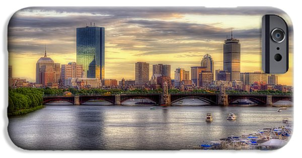 Boston iPhone Cases - Boston Skyline Sunset - 5 iPhone Case by Joann Vitali