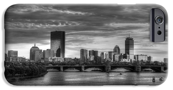 Charles River iPhone Cases - Boston Skyline Sunset Over Back Bay in BW iPhone Case by Joann Vitali