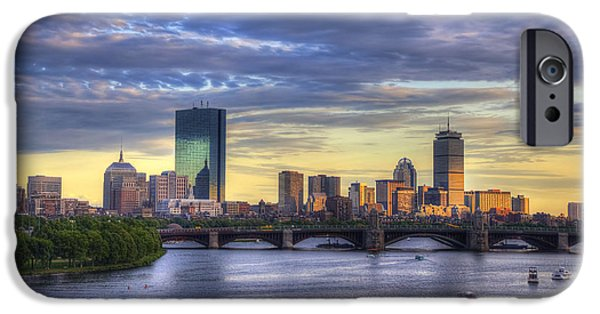 City. Boston iPhone Cases - Boston Skyline Sunset over Back Bay iPhone Case by Joann Vitali