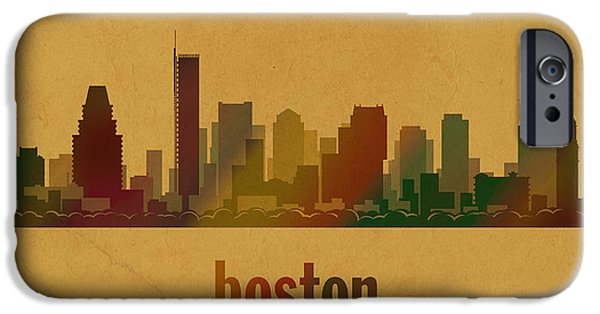 Boston Mixed Media iPhone Cases - Boston Skyline Watercolor on Parchment iPhone Case by Design Turnpike