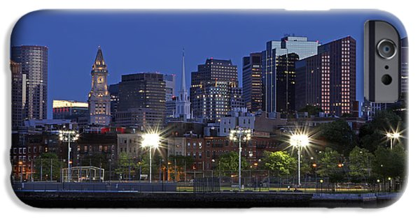 Boston Nightscape iPhone Cases - Boston Skyline with North End iPhone Case by Juergen Roth
