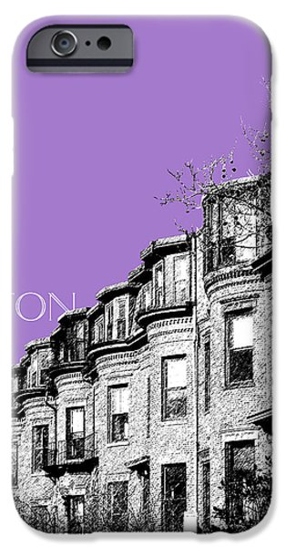 Pen And Ink iPhone Cases - Boston South End - Violet iPhone Case by DB Artist