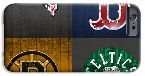 Boston Red Sox iPhone Cases - Boston Sports Fan Recycled Vintage Massachusetts License Plate Art Patriots Red Sox Bruins Celtics iPhone Case by Design Turnpike