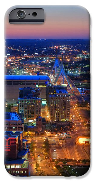 Scenic Boston iPhone Cases - Boston Sunset Aerial View iPhone Case by Joann Vitali