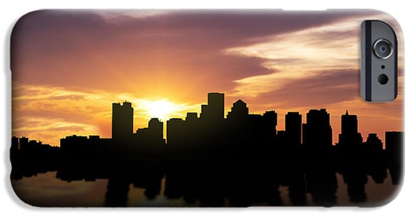 Skyscraper Mixed Media iPhone Cases - Boston Sunset Skyline  iPhone Case by Aged Pixel