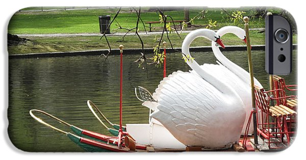 Swan iPhone Cases - Boston Swan Boats iPhone Case by Barbara McDevitt