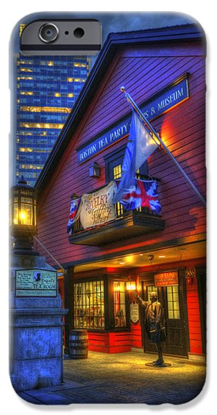 Tea Party iPhone Cases - Boston Tea Party Museum at Night iPhone Case by Joann Vitali