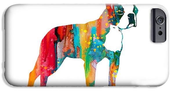 Terrier Art iPhone Cases - Boston Terrier 2 iPhone Case by Luke and Slavi