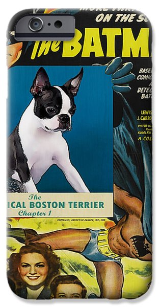 Recently Sold -  - Boston iPhone Cases - Boston Terrier Art - Batman Movie Poster iPhone Case by Sandra Sij