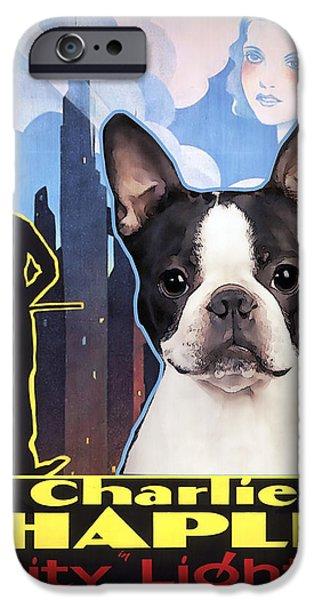 Boston iPhone Cases - Boston Terrier Art - City Light Movie Poster iPhone Case by Sandra Sij