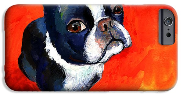 Black Portrait Drawings iPhone Cases - Boston Terrier dog painting prints iPhone Case by Svetlana Novikova