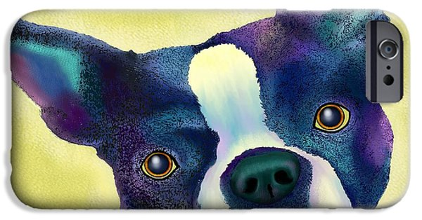 Purebred Digital Art iPhone Cases - Boston Terrier iPhone Case by Marlene Watson