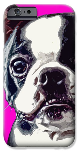 Puppy Digital iPhone Cases - Boston Terrier Pop Art iPhone Case by David G Paul