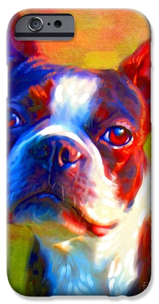 Cute Puppy Pictures Digital Art iPhone Cases - Boston Terrier Portrait iPhone Case by Iain McDonald