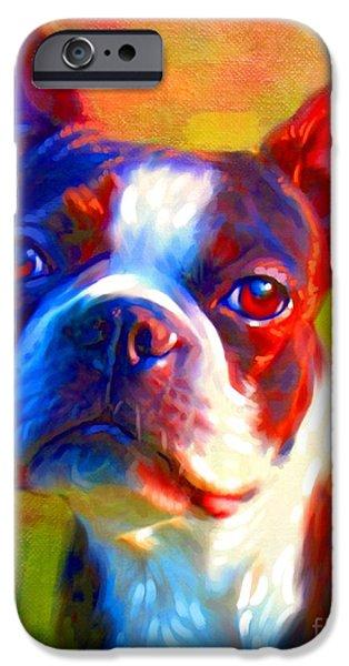 Buy Dog Digital iPhone Cases - Boston Terrier Portrait iPhone Case by Iain McDonald