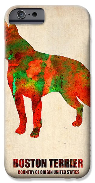 Puppy Digital Art iPhone Cases - Boston Terrier Poster iPhone Case by Naxart Studio