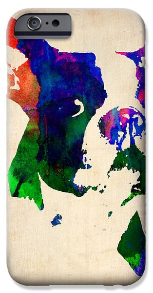 Pets Art iPhone Cases - Boston Terrier Watercolor iPhone Case by Naxart Studio