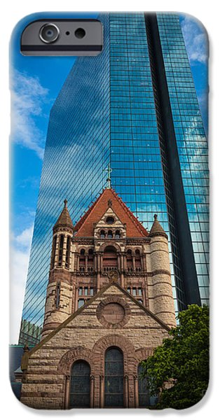 Facade iPhone Cases - Boston Trinity Church iPhone Case by Inge Johnsson