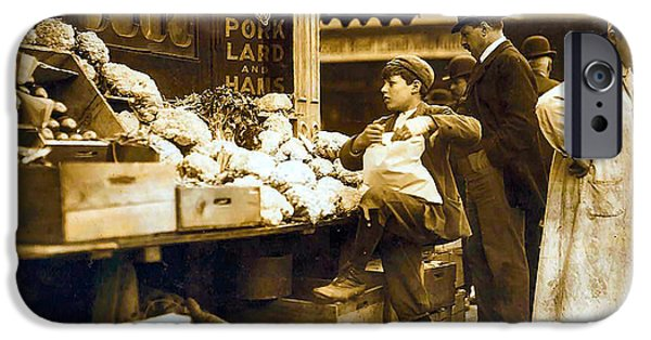 Wooden Crate iPhone Cases - Boston Vegetable Seller 1909 iPhone Case by Unknown