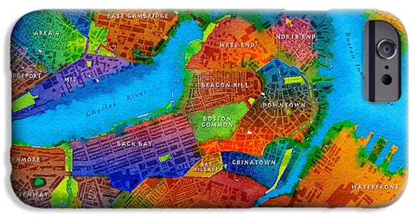 Boston Red Sox Digital Art iPhone Cases - Boston Watercolor Map iPhone Case by Paul Hein