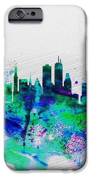 Boston Cityscape iPhone Cases - Boston Watercolor Skyline iPhone Case by Naxart Studio