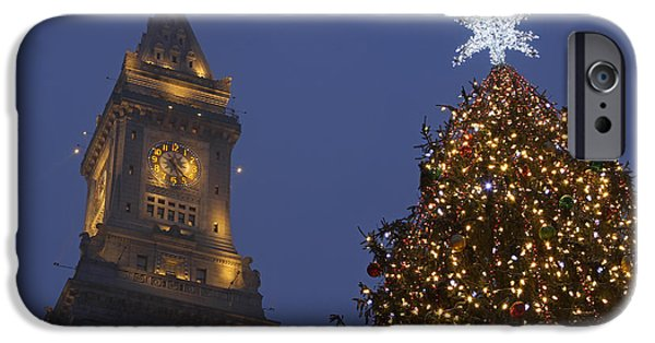 Custom House Tower iPhone Cases - Boston Wishing You a Merry Christmas  iPhone Case by Juergen Roth