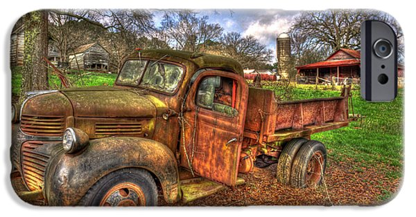Old Barns iPhone Cases - Boswell Farm Dodge Dump Truck iPhone Case by Reid Callaway