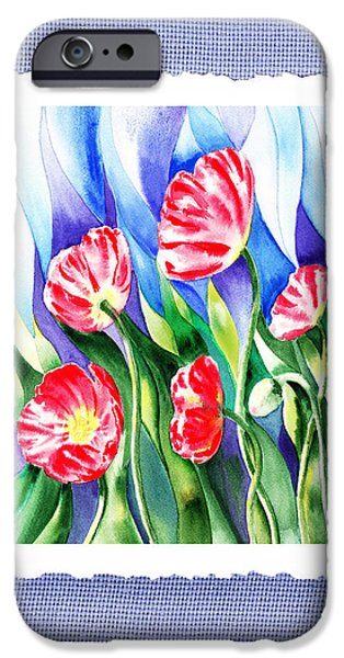 Glass Vase iPhone Cases - Botanical Impressionism Poppies In The Wind iPhone Case by Irina Sztukowski