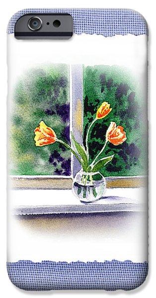 Glass Vase iPhone Cases - Botanical Impressionism Tulip Bouquet iPhone Case by Irina Sztukowski