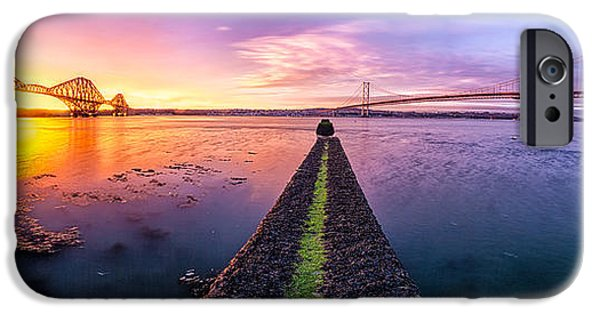 East iPhone Cases - Both Forth Bridges iPhone Case by John Farnan