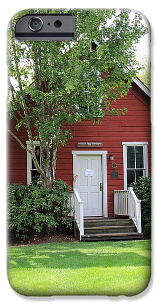 Red School House iPhone Cases - Bothell WA  One Room Schoolhouse  iPhone Case by Marv Russell