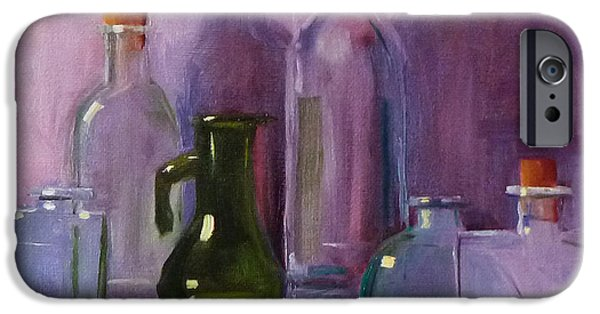Business Paintings iPhone Cases - Bottle Collection iPhone Case by Nancy Merkle