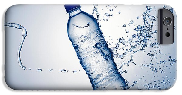 Hits iPhone Cases - Bottle Water and Splash iPhone Case by Johan Swanepoel