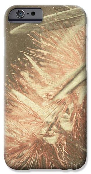Botanic Illustration iPhone Cases - Bottlebrush fine art illustration iPhone Case by Ryan Jorgensen