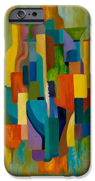 Wine Glass Paintings iPhone Cases - Bottles and Glasses iPhone Case by Larry Martin