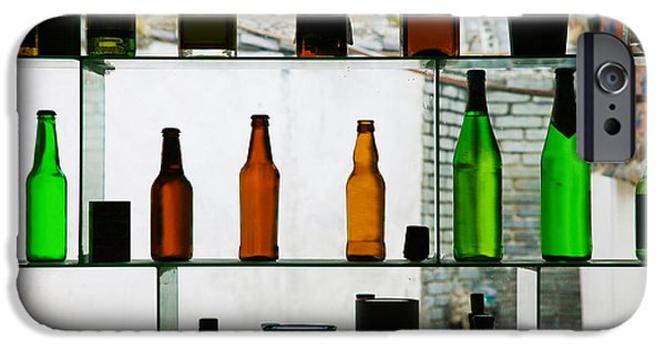 Wine Bottles iPhone Cases - Bottles Displayed At Foreigner Bar, Old iPhone Case by Panoramic Images