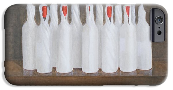 Wine Bottles iPhone Cases - Bottles In Paper, 2005 Acrylic On Canvas iPhone Case by Lincoln Seligman