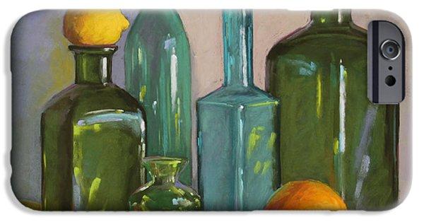 Still Life Pastels iPhone Cases - Bottles iPhone Case by Sarah Blumenschein