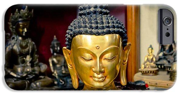 Tibetan Buddhism iPhone Cases - Boudha Kathamndu near stupa Boudnath iPhone Case by Raimond Klavins